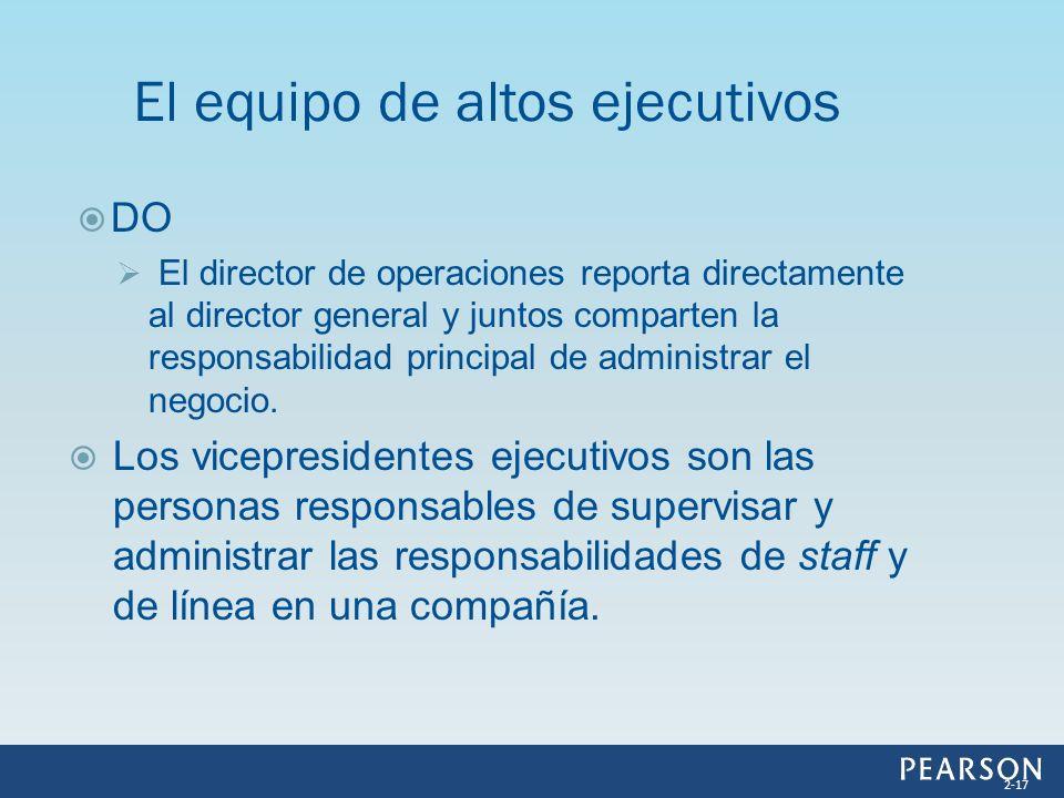 DO El director de operaciones reporta directamente al director general y juntos comparten la responsabilidad principal de administrar el negocio. Los