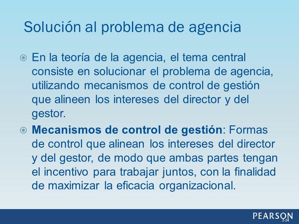 En la teoría de la agencia, el tema central consiste en solucionar el problema de agencia, utilizando mecanismos de control de gestión que alineen los
