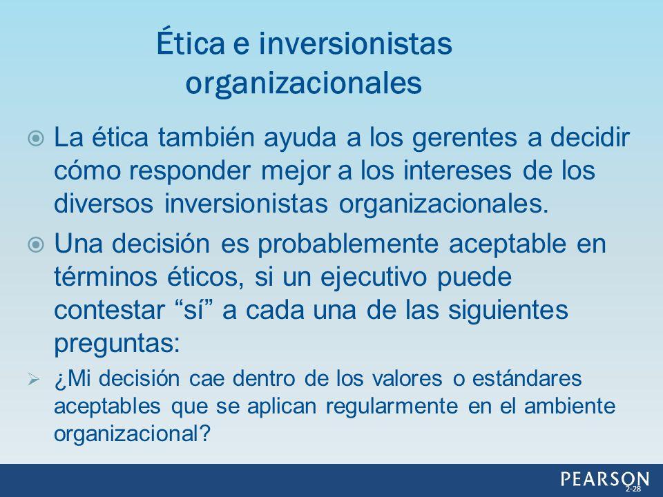 La ética también ayuda a los gerentes a decidir cómo responder mejor a los intereses de los diversos inversionistas organizacionales. Una decisión es