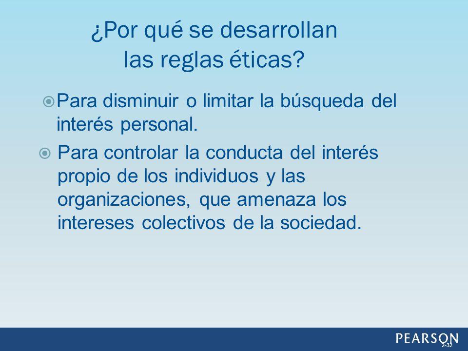 Para disminuir o limitar la búsqueda del interés personal. Para controlar la conducta del interés propio de los individuos y las organizaciones, que a