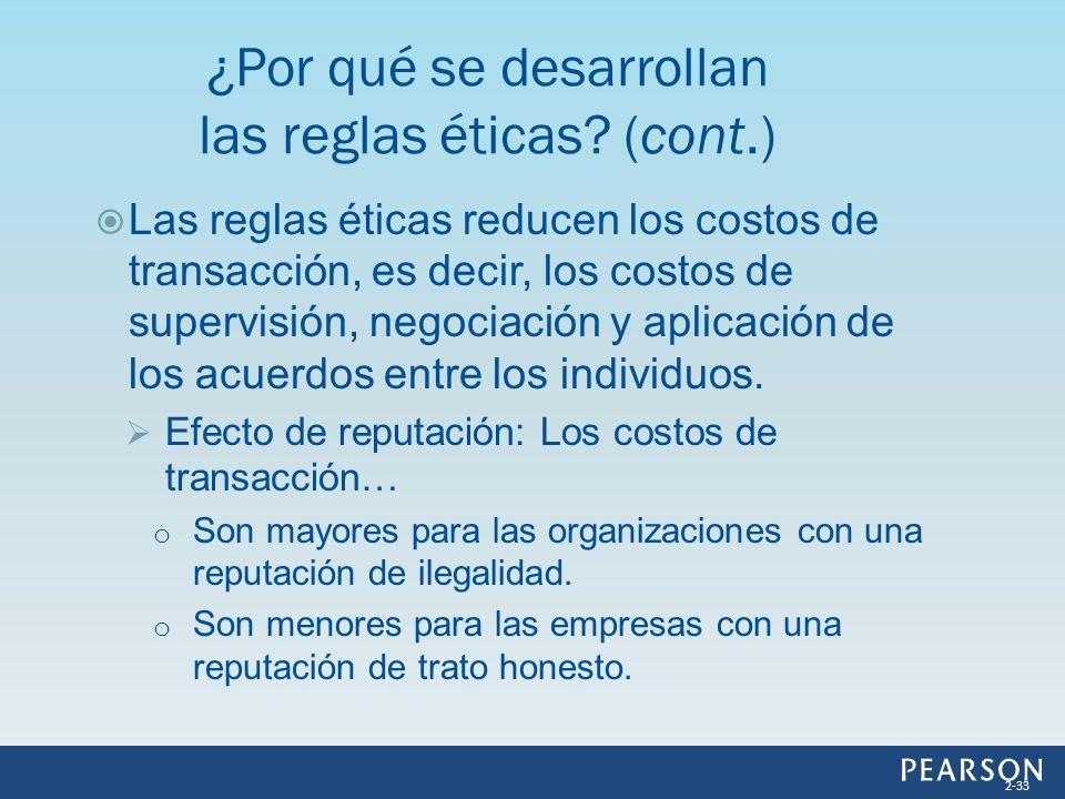Las reglas éticas reducen los costos de transacción, es decir, los costos de supervisión, negociación y aplicación de los acuerdos entre los individuo