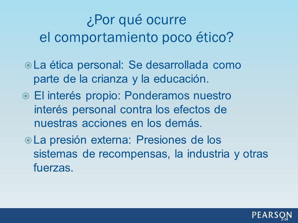 La ética personal: Se desarrollada como parte de la crianza y la educación. El interés propio: Ponderamos nuestro interés personal contra los efectos