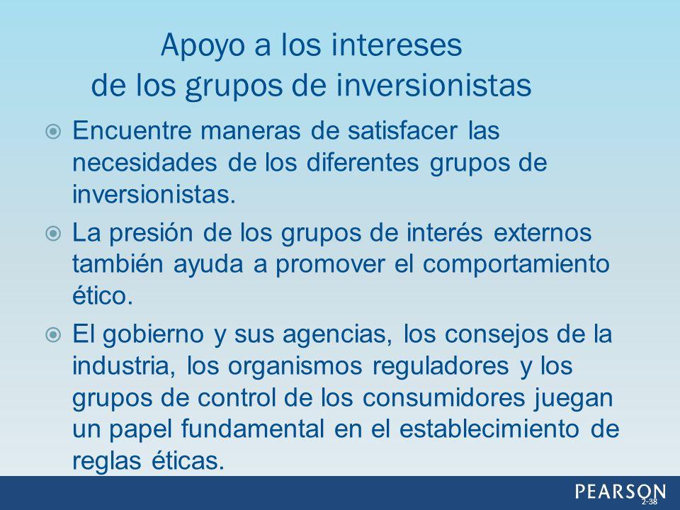 Encuentre maneras de satisfacer las necesidades de los diferentes grupos de inversionistas. La presión de los grupos de interés externos también ayuda