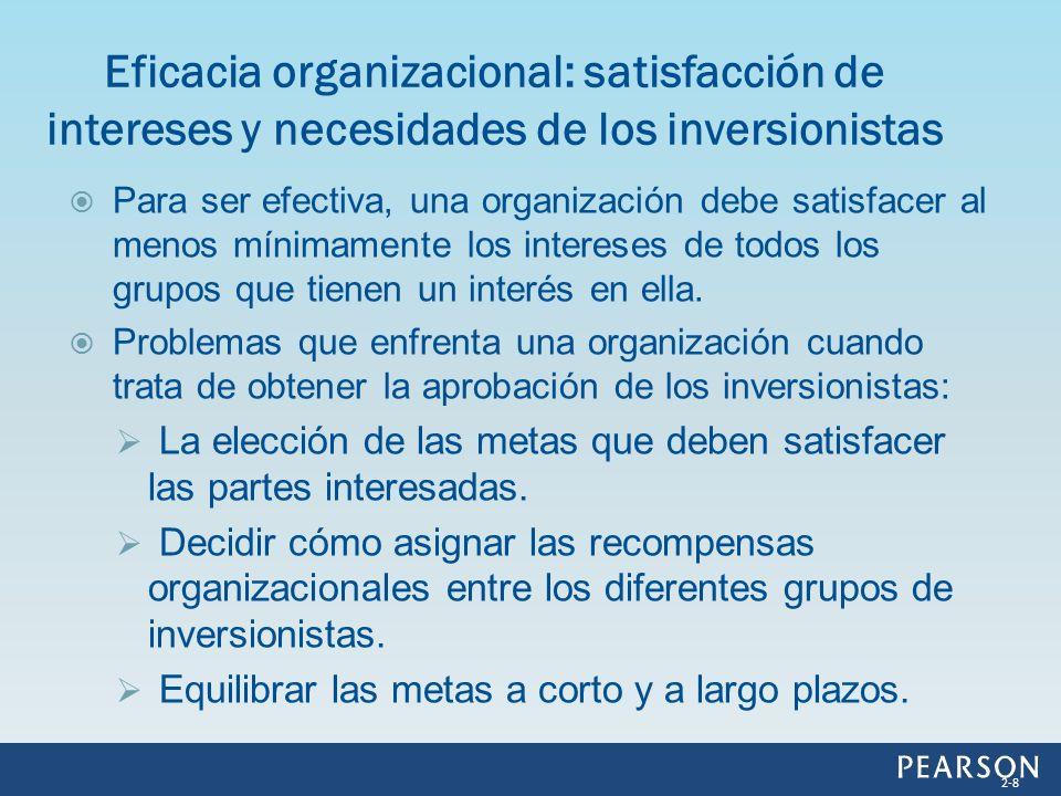 Para ser efectiva, una organización debe satisfacer al menos mínimamente los intereses de todos los grupos que tienen un interés en ella. Problemas qu