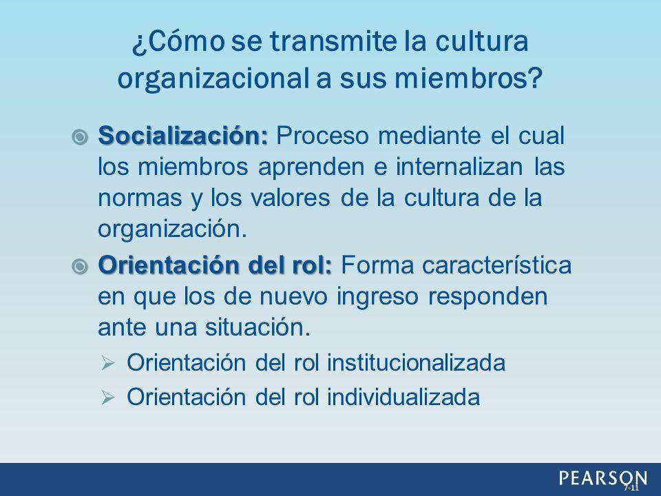Socialización: Socialización: Proceso mediante el cual los miembros aprenden e internalizan las normas y los valores de la cultura de la organización.