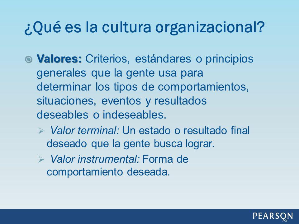 Valores: Valores: Criterios, estándares o principios generales que la gente usa para determinar los tipos de comportamientos, situaciones, eventos y r