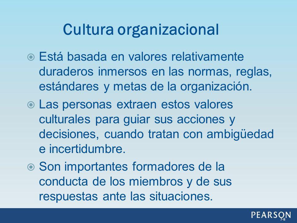 Está basada en valores relativamente duraderos inmersos en las normas, reglas, estándares y metas de la organización. Las personas extraen estos valor