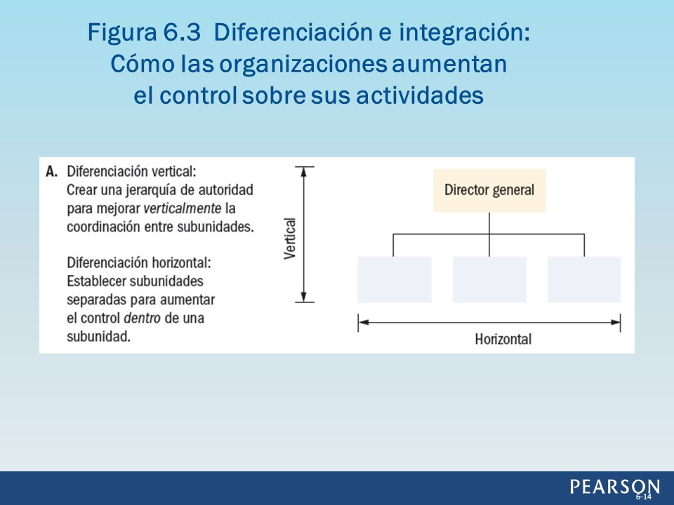 Figura 6.3 Diferenciación e integración: Cómo las organizaciones aumentan el control sobre sus actividades 6-14