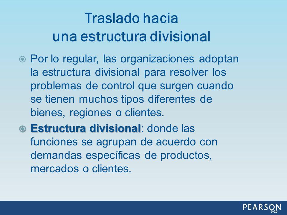 Por lo regular, las organizaciones adoptan la estructura divisional para resolver los problemas de control que surgen cuando se tienen muchos tipos di