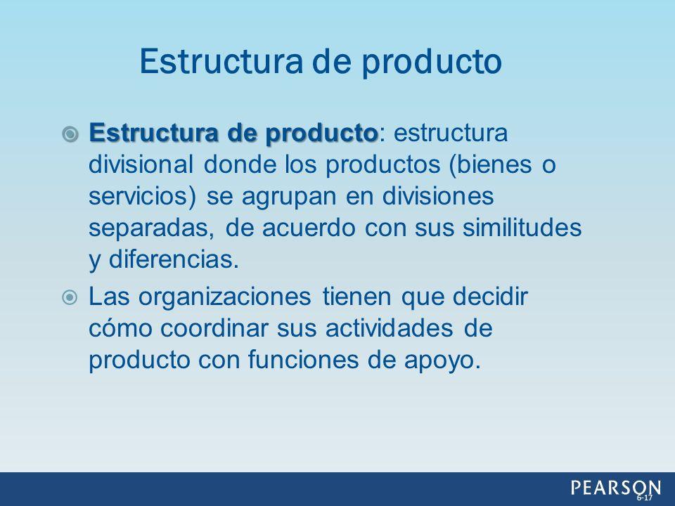 Estructura de producto Estructura de producto: estructura divisional donde los productos (bienes o servicios) se agrupan en divisiones separadas, de a