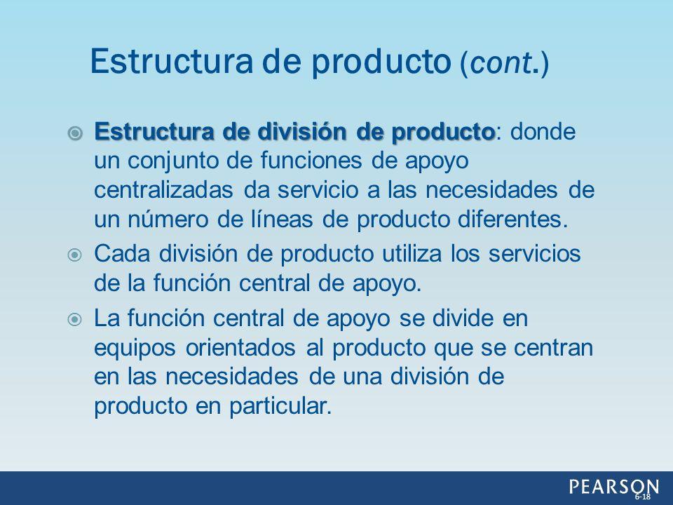 Estructura de división de producto Estructura de división de producto: donde un conjunto de funciones de apoyo centralizadas da servicio a las necesid