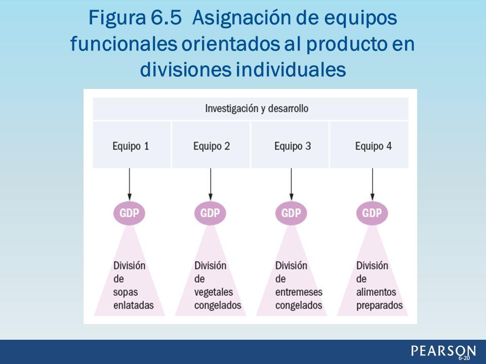 Figura 6.5 Asignación de equipos funcionales orientados al producto en divisiones individuales 6-20