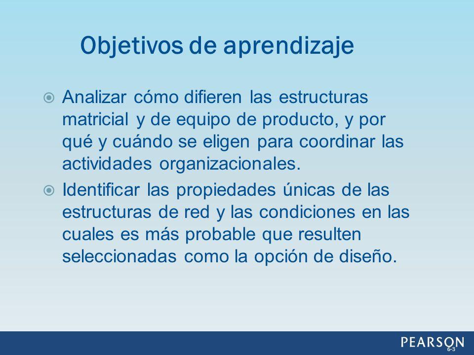 Analizar cómo difieren las estructuras matricial y de equipo de producto, y por qué y cuándo se eligen para coordinar las actividades organizacionales