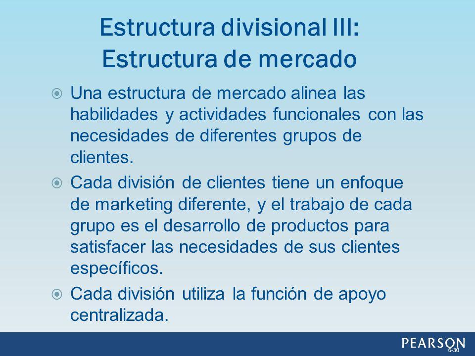 Una estructura de mercado alinea las habilidades y actividades funcionales con las necesidades de diferentes grupos de clientes. Cada división de clie
