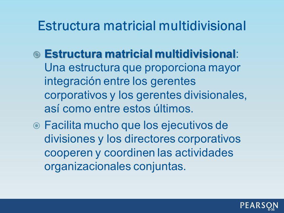 Estructura matricial multidivisional Estructura matricial multidivisional: Una estructura que proporciona mayor integración entre los gerentes corpora