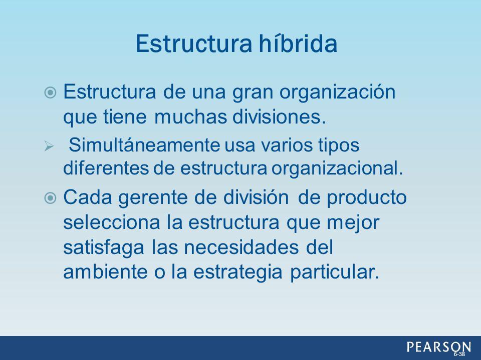 Estructura de una gran organización que tiene muchas divisiones. Simultáneamente usa varios tipos diferentes de estructura organizacional. Cada gerent