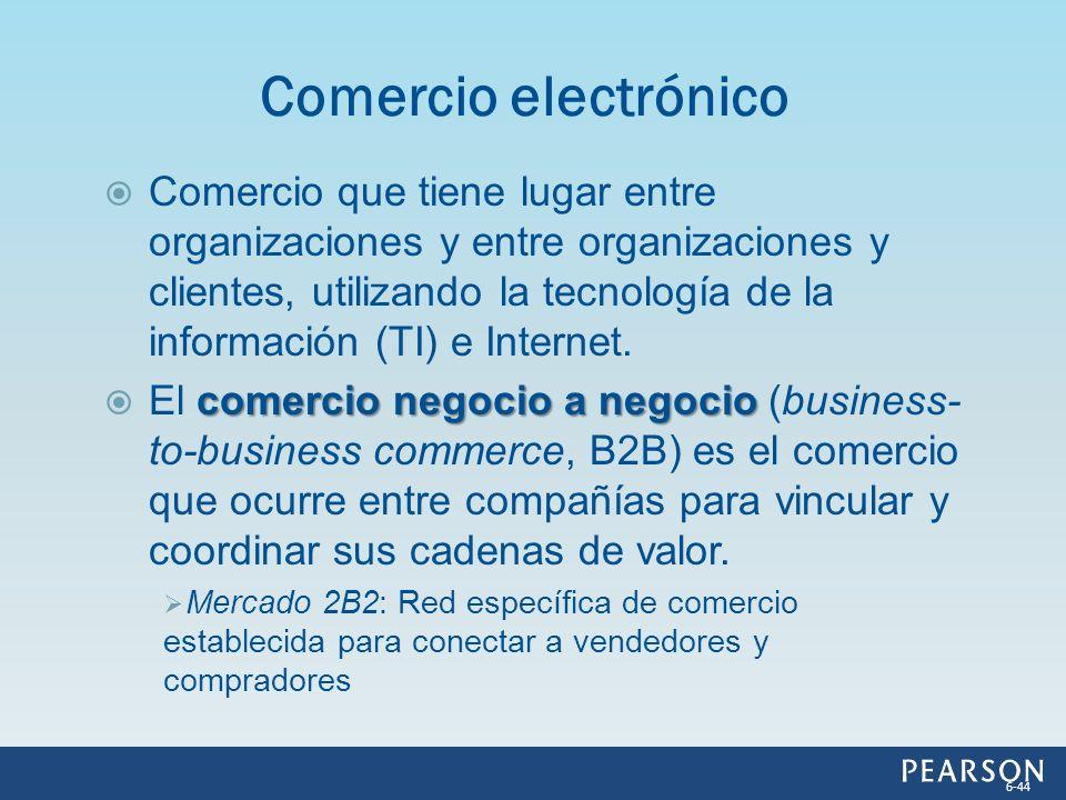 Comercio que tiene lugar entre organizaciones y entre organizaciones y clientes, utilizando la tecnología de la información (TI) e Internet. comercio