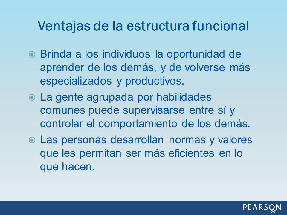 Problemas de comunicación Problemas de medición Problemas de ubicación Problemas con los clientes Problemas estratégicos Problemas de control en una estructura funcional 6-8