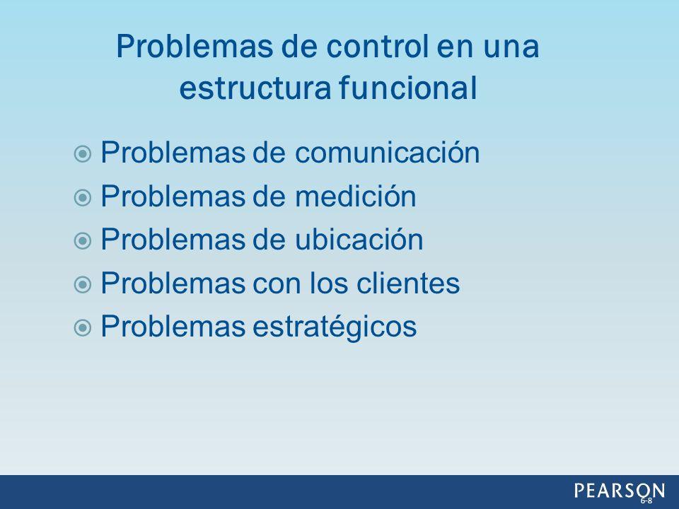 Problemas de comunicación Problemas de medición Problemas de ubicación Problemas con los clientes Problemas estratégicos Problemas de control en una e