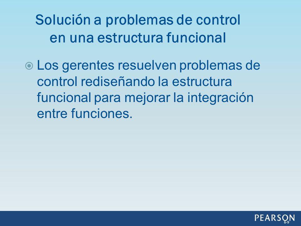 Los gerentes resuelven problemas de control rediseñando la estructura funcional para mejorar la integración entre funciones. Solución a problemas de c