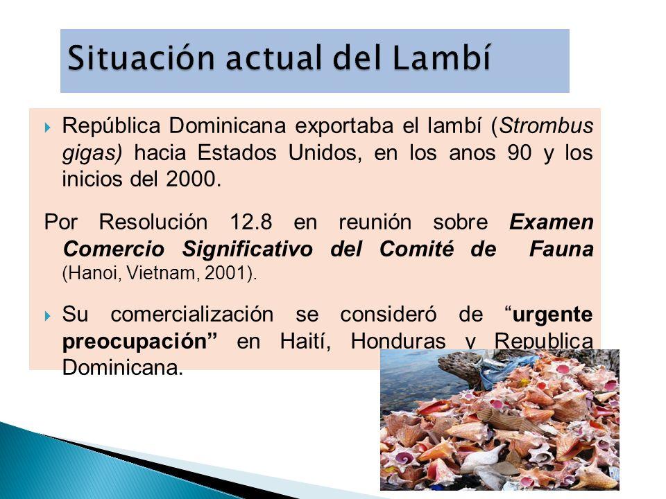 República Dominicana exportaba el lambí (Strombus gigas) hacia Estados Unidos, en los anos 90 y los inicios del 2000. Por Resolución 12.8 en reunión s