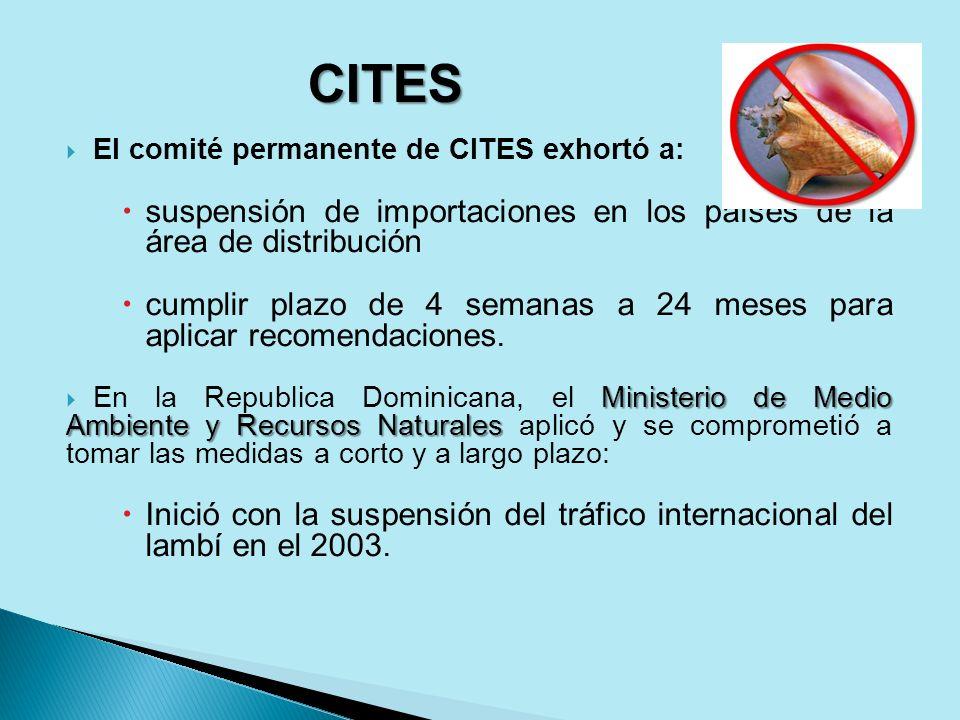 El comité permanente de CITES exhortó a: suspensión de importaciones en los países de la área de distribución cumplir plazo de 4 semanas a 24 meses pa