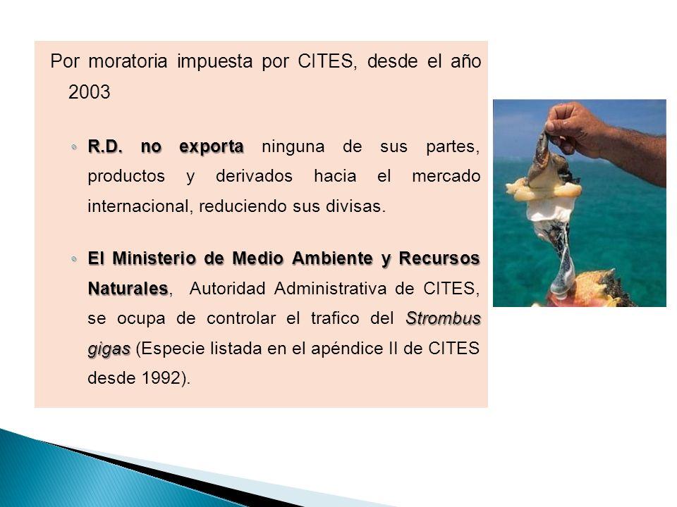 Por moratoria impuesta por CITES, desde el año 2003 R.D. no exporta R.D. no exporta ninguna de sus partes, productos y derivados hacia el mercado inte