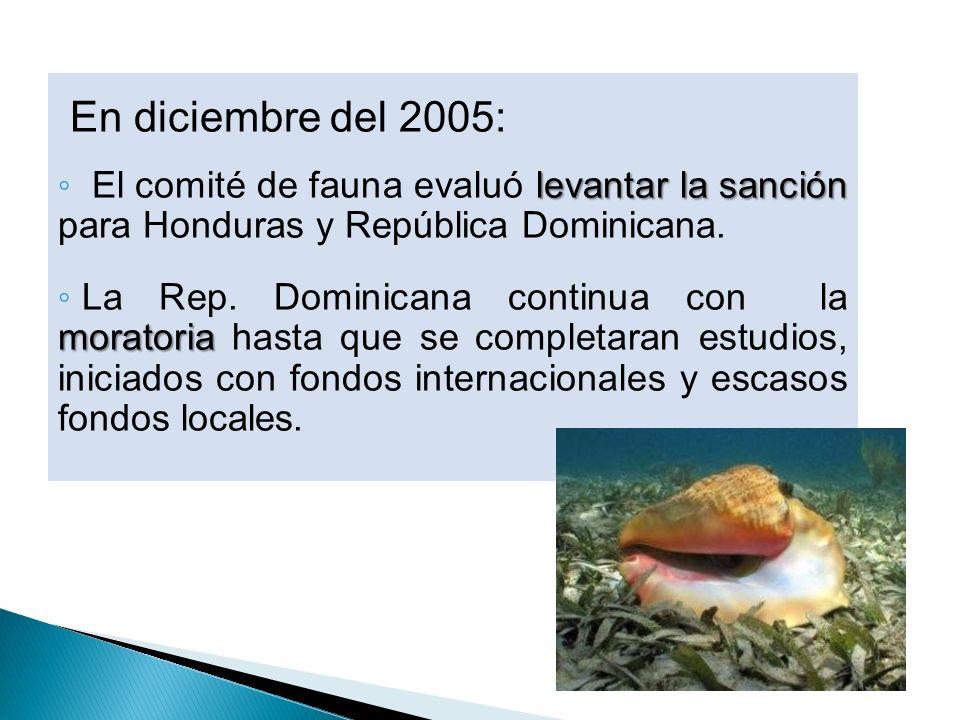 En diciembre del 2005: levantar la sanción El comité de fauna evaluó levantar la sanción para Honduras y República Dominicana. moratoria La Rep. Domin