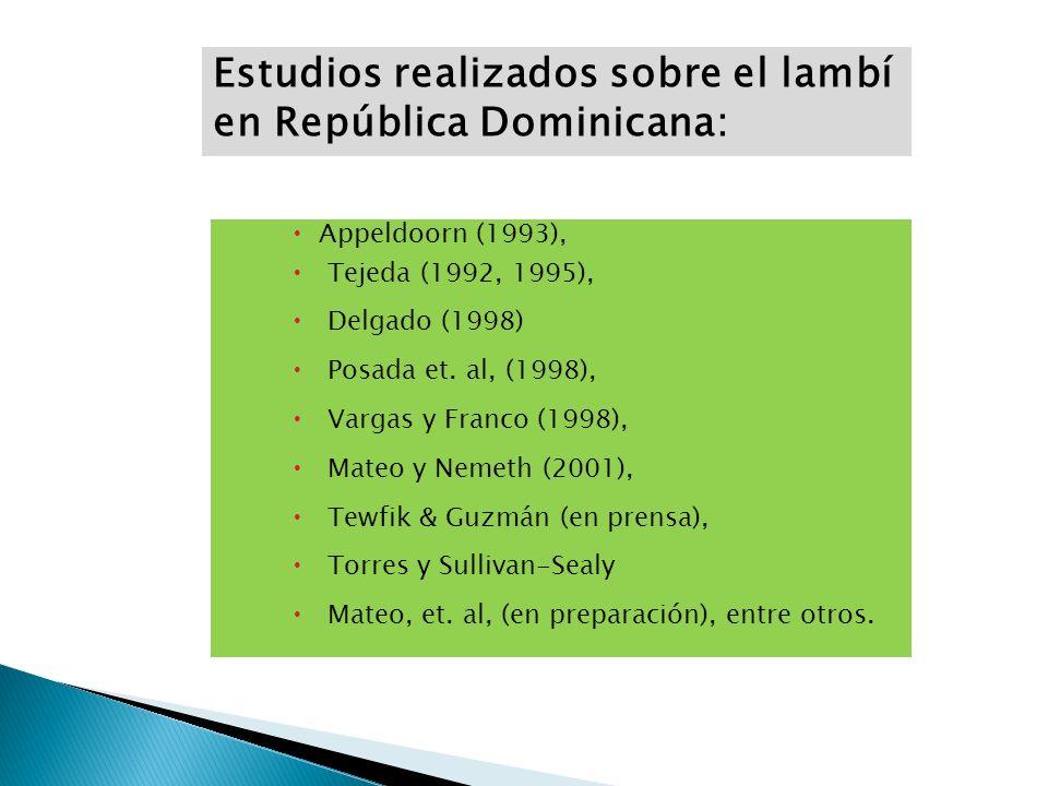 Appeldoorn (1993), Tejeda (1992, 1995), Delgado (1998) Posada et. al, (1998), Vargas y Franco (1998), Mateo y Nemeth (2001), Tewfik & Guzmán (en prens