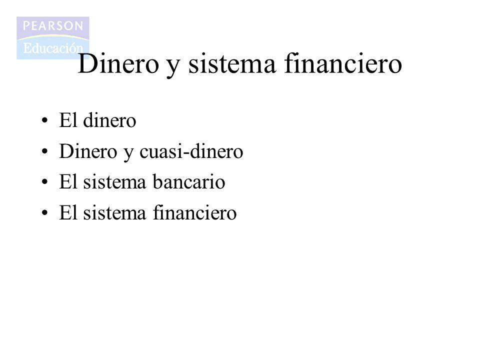 El dinero Dinero y cuasi-dinero El sistema bancario El sistema financiero