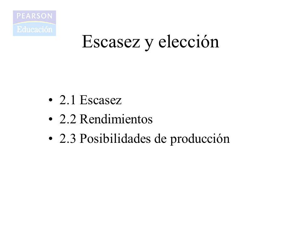 2.1 Escasez 2.2 Rendimientos 2.3 Posibilidades de producción