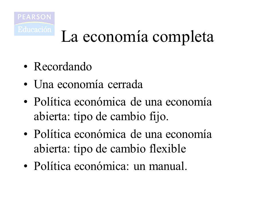 Recordando Una economía cerrada Política económica de una economía abierta: tipo de cambio fijo. Política económica de una economía abierta: tipo de c