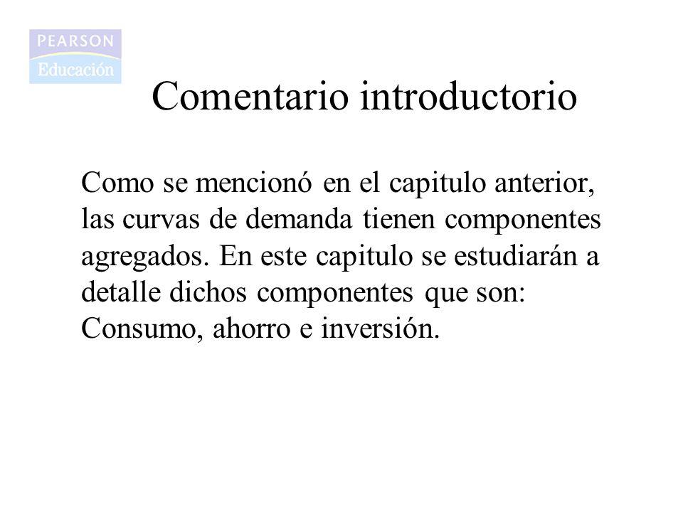 Comentario introductorio Como se mencionó en el capitulo anterior, las curvas de demanda tienen componentes agregados. En este capitulo se estudiarán