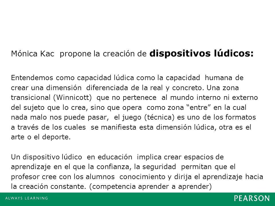 Mónica Kac propone la creación de dispositivos lúdicos: Entendemos como capacidad lúdica como la capacidad humana de crear una dimensión diferenciada