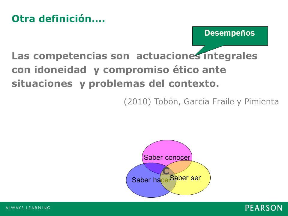 Otra definición…. Las competencias son actuaciones integrales con idoneidad y compromiso ético ante situaciones y problemas del contexto. Desempeños S