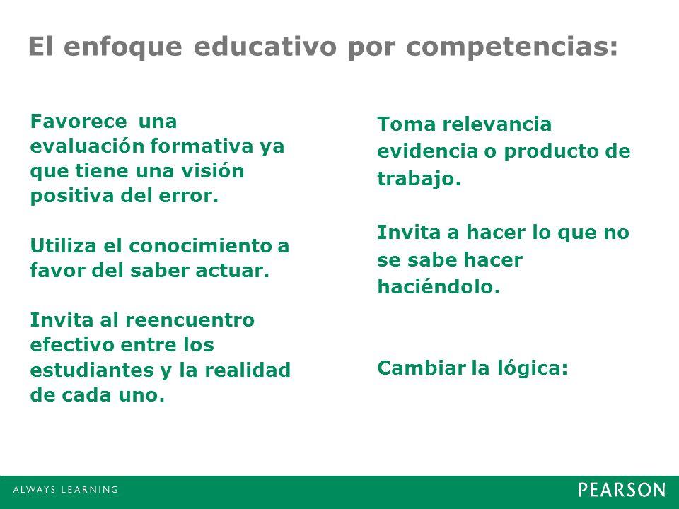 El enfoque educativo por competencias: Favorece una evaluación formativa ya que tiene una visión positiva del error. Utiliza el conocimiento a favor d