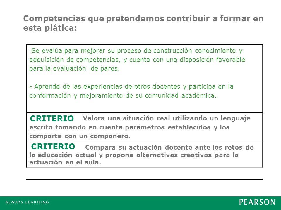 Competencias que pretendemos contribuir a formar en esta plática: - Se evalúa para mejorar su proceso de construcción conocimiento y adquisición de co