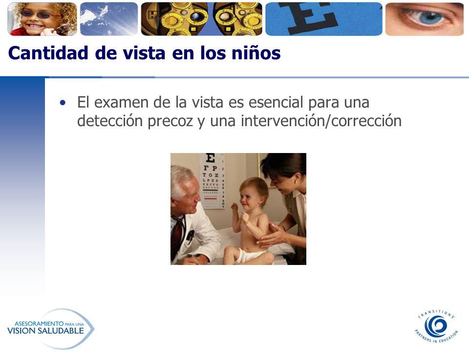 El examen de la vista es esencial para una detección precoz y una intervención/corrección