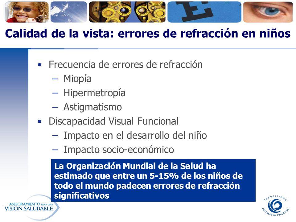 Calidad de la vista: errores de refracción en niños Frecuencia de errores de refracción –Miopía –Hipermetropía –Astigmatismo Discapacidad Visual Funci