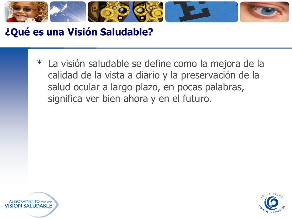 ¿Qué es una Visión Saludable? *La visión saludable se define como la mejora de la calidad de la vista a diario y la preservación de la salud ocular a