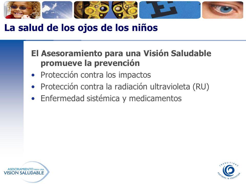 El Asesoramiento para una Visión Saludable promueve la prevención Protección contra los impactos Protección contra la radiación ultravioleta (RU) Enfe