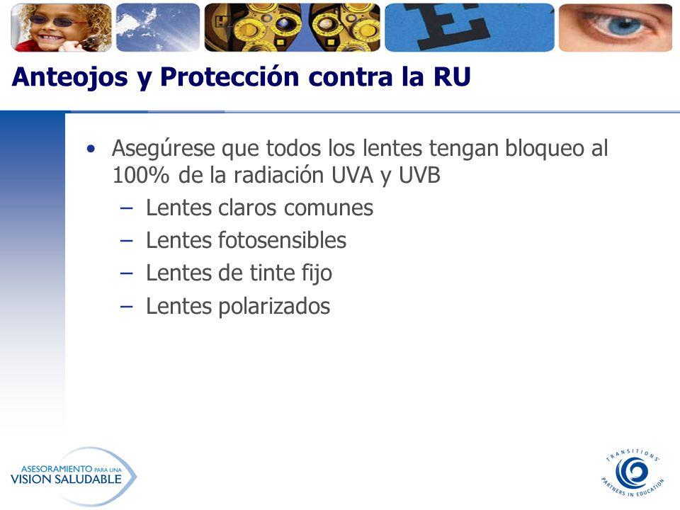 Anteojos y Protección contra la RU Asegúrese que todos los lentes tengan bloqueo al 100% de la radiación UVA y UVB –Lentes claros comunes –Lentes foto