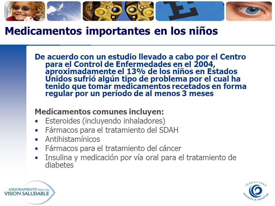 Medicamentos importantes en los niños De acuerdo con un estudio llevado a cabo por el Centro para el Control de Enfermedades en el 2004, aproximadamen