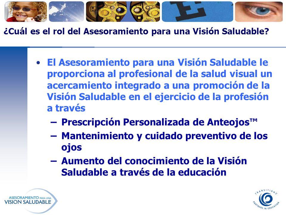 ¿Cuál es el rol del Asesoramiento para una Visión Saludable? El Asesoramiento para una Visión Saludable le proporciona al profesional de la salud visu