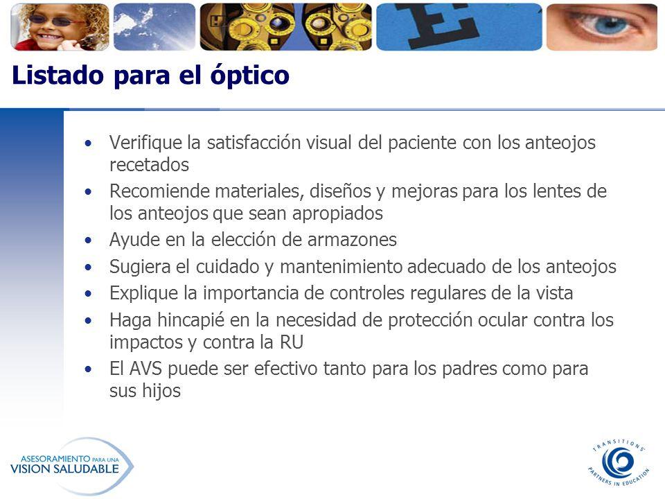 Listado para el óptico Verifique la satisfacción visual del paciente con los anteojos recetados Recomiende materiales, diseños y mejoras para los lent