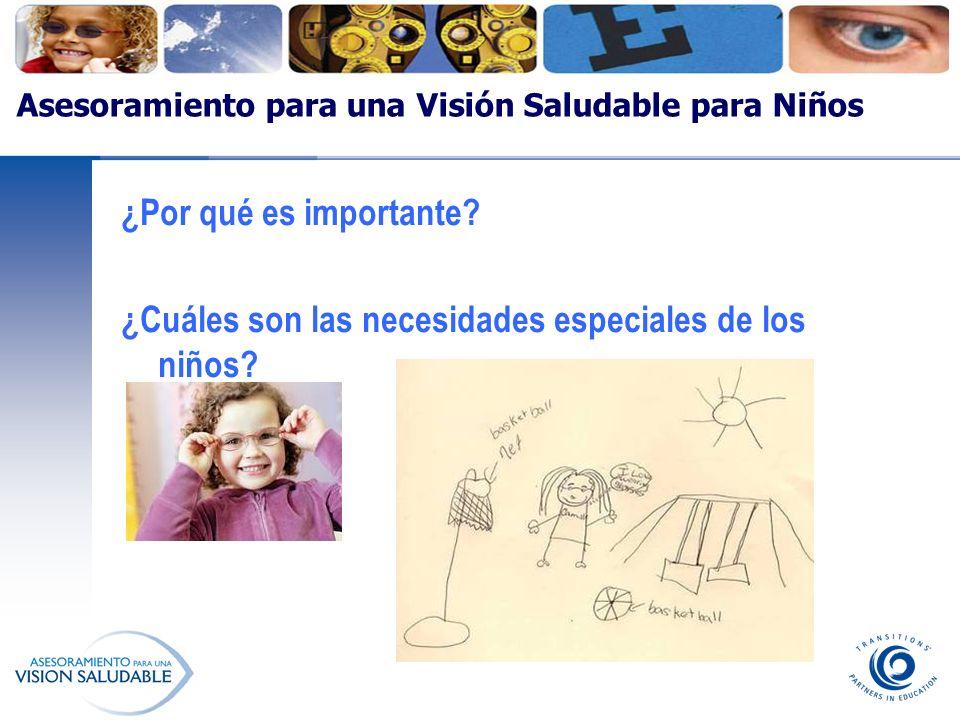Asesoramiento para una Visión Saludable para Niños ¿Por qué es importante? ¿Cuáles son las necesidades especiales de los niños?