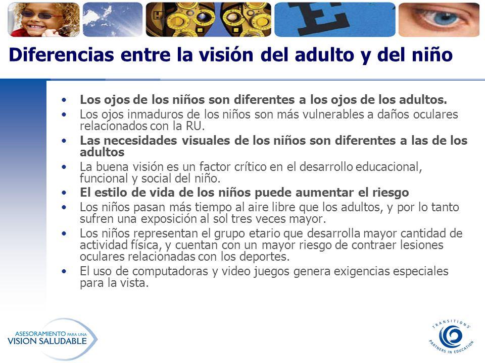 Diferencias entre la visión del adulto y del niño Los ojos de los niños son diferentes a los ojos de los adultos. Los ojos inmaduros de los niños son