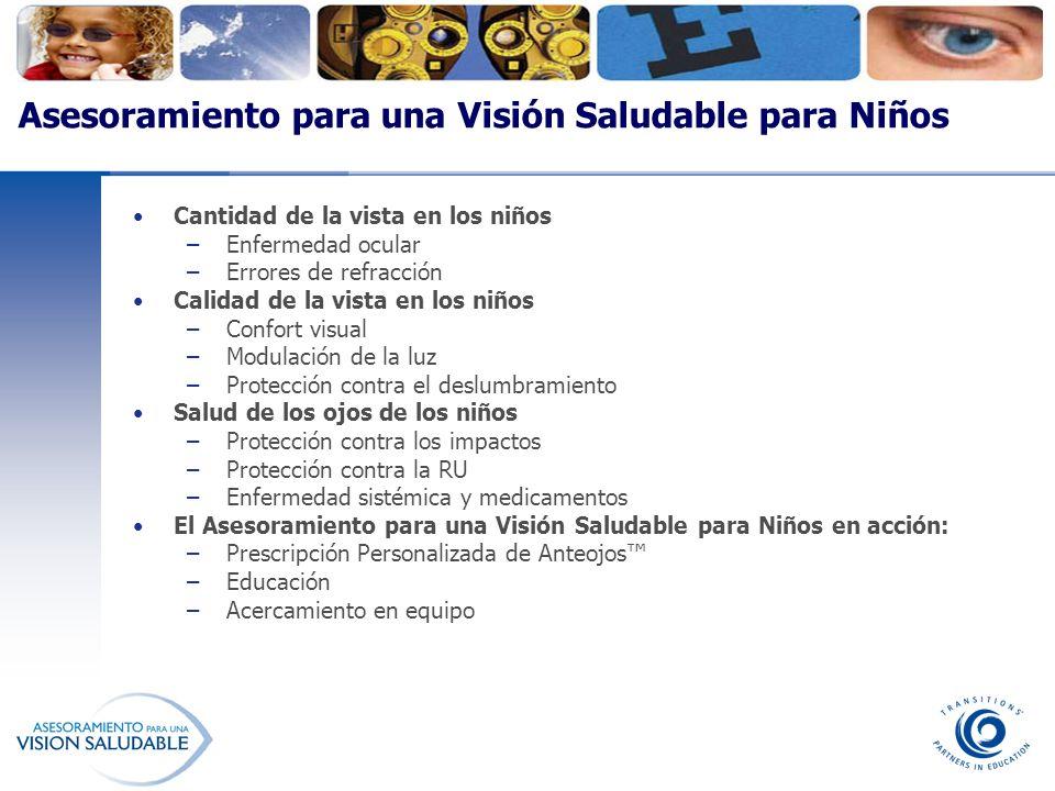 Asesoramiento para una Visión Saludable para Niños Cantidad de la vista en los niños –Enfermedad ocular –Errores de refracción Calidad de la vista en