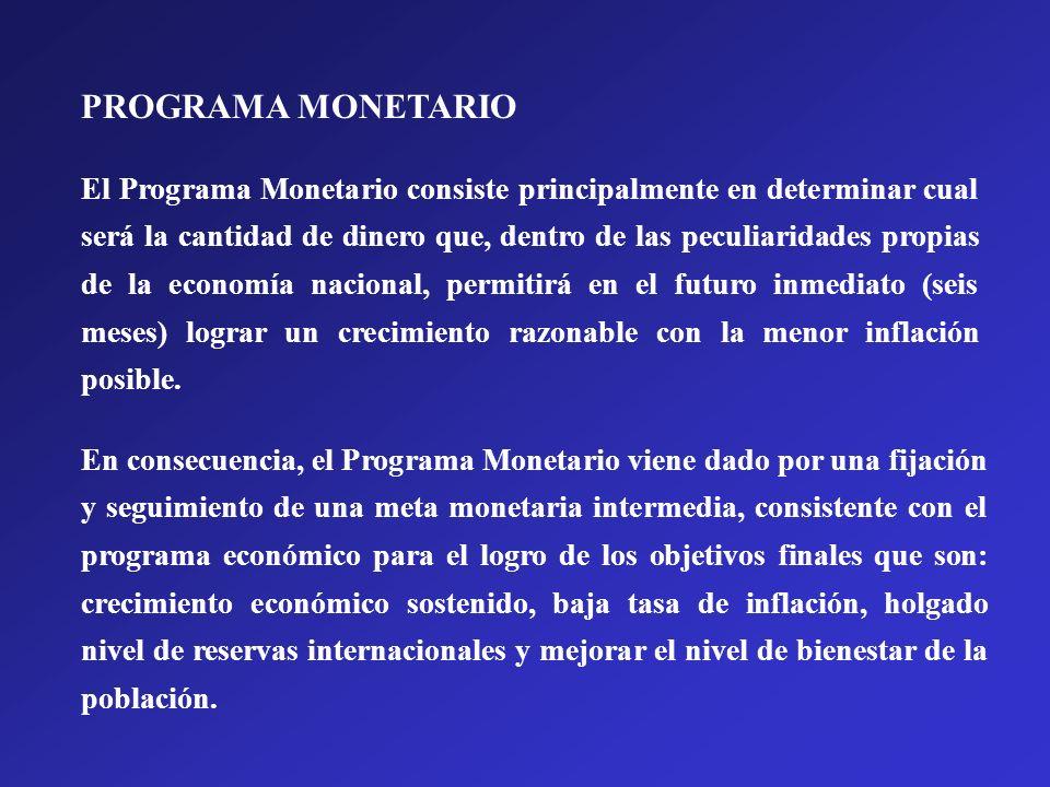 El Programa Monetario consiste principalmente en determinar cual será la cantidad de dinero que, dentro de las peculiaridades propias de la economía n