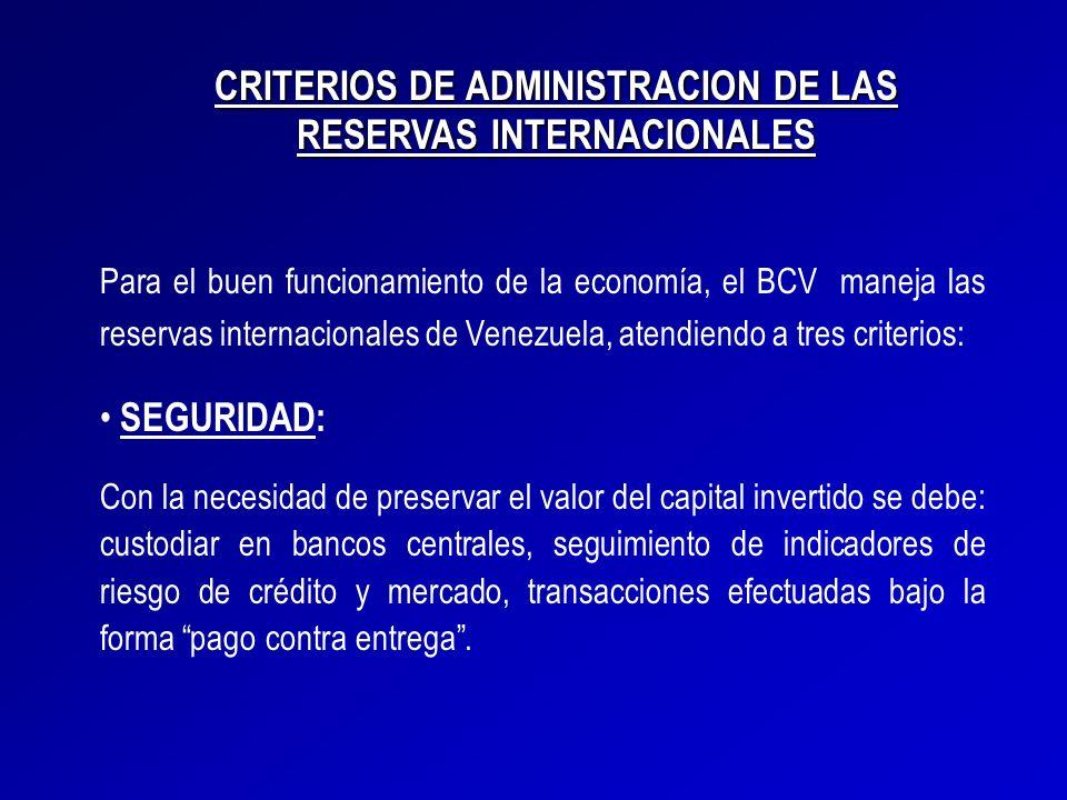 Para el buen funcionamiento de la economía, el BCV maneja las reservas internacionales de Venezuela, atendiendo a tres criterios: SEGURIDAD: Con la ne